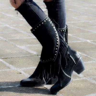 Women's Casual Studded Fringe Thick Ankle Booties