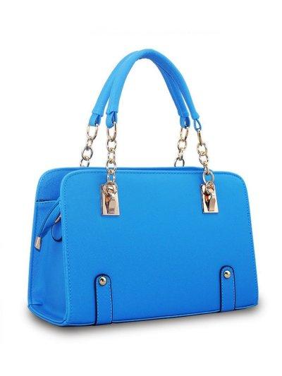Gold Chain Handle Pu Crossbody Bag