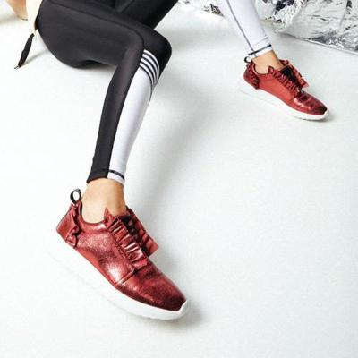 Athletic Ruffles Lace Up All Season Sneakers