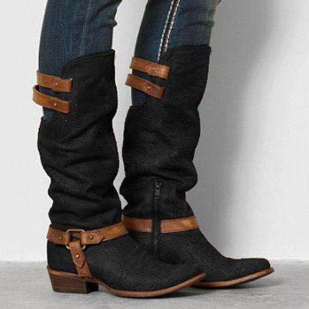 Women Pointed Toe Slide Button Pu Chunky Heel Boots