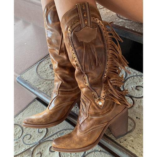 Tassel Chunky Heel Slip On Knee Boots