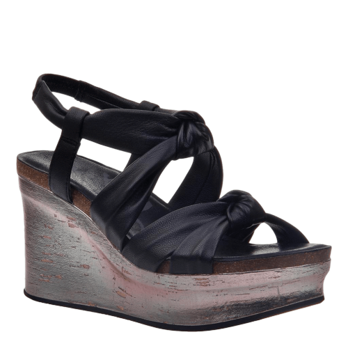 FAR SIDE in BLACK Wedge Sandals