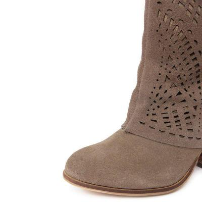 Plus Size Suede Buckle Chunky Heel Knee Boots