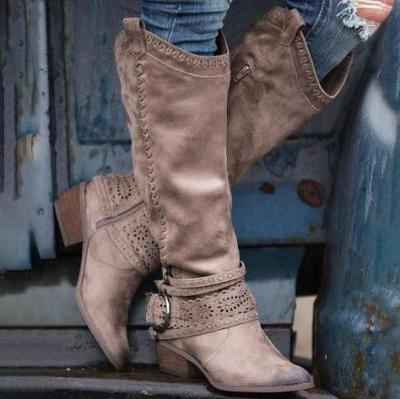 Light Khaki Suede Hollow-Out Casual Low Heel Spring/fall Boots