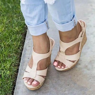 Women Peep Toe Adjustable Buckle Wedges Elegant Plus Size Sandals