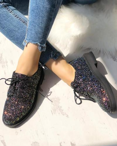 Glittering Sequined Round Toe Lace-up Sneakers