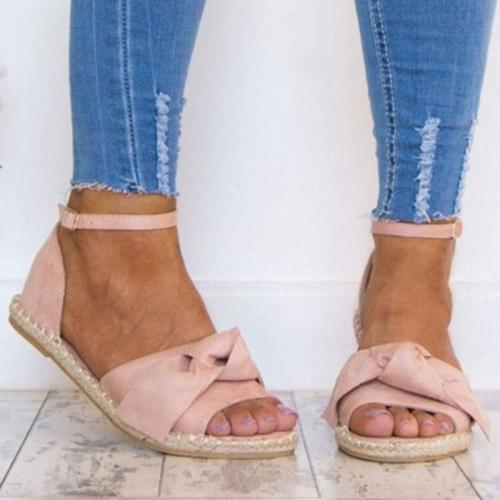 2019 women's flat summer ladies sandals women's sandals gladiator open toe fish mouth bow Roman sandals
