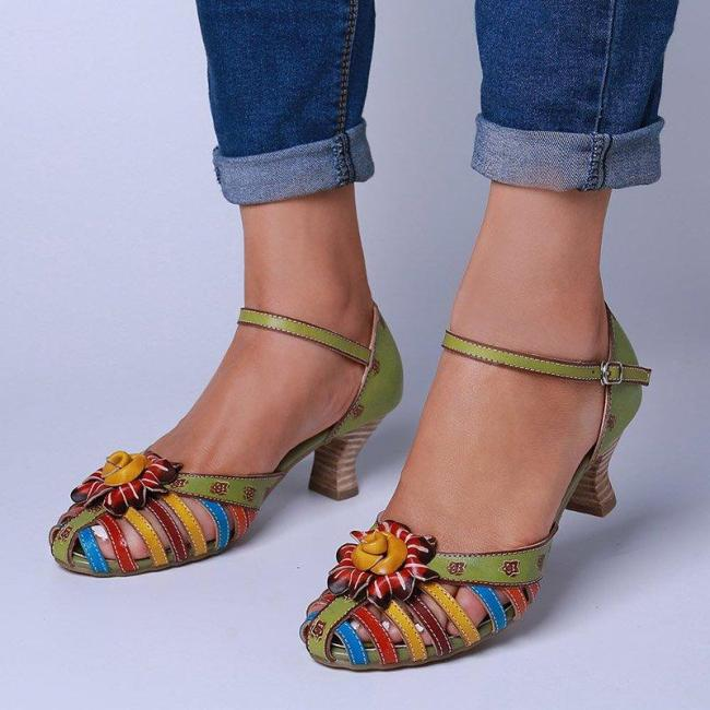 Spool Heel Fisherman Sandals Elegant Floral Colorful Sandals