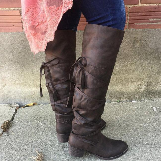 Vintage Chunky Heel Round Toe Lace-up Knee Boots