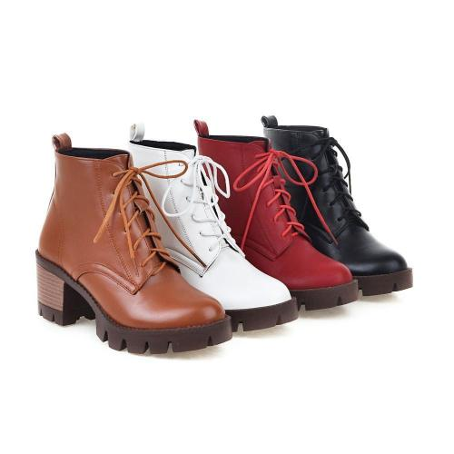 Lace Up Short Boots Plus Size Women Shoes 4703