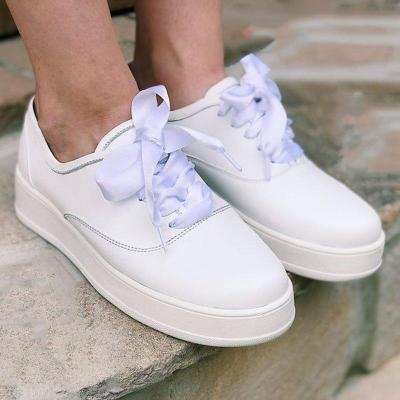 Platform Lace-Up Round Toe Plus Size Sneakers