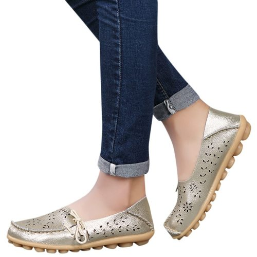 YOUYEDIAN 2019 Fashion Women Mother Flats Shoes Women Hole Flats Casual Shoes Bow Driving Ladies Flat Loafers Shoes