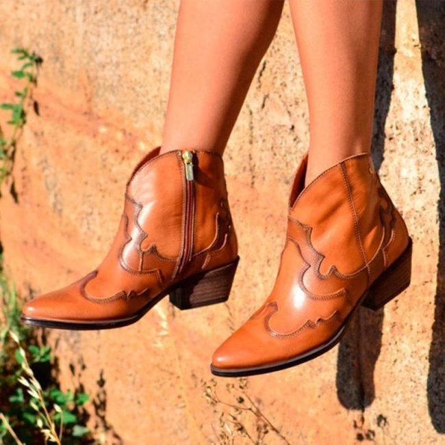 Brown Chunky Heel Daily Boots