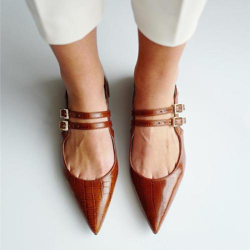Pointed Double-Breasted Women's Casual Shoes