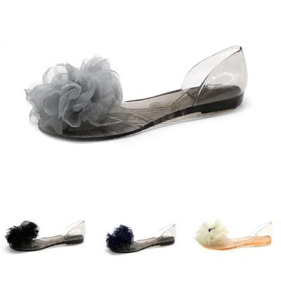 New Women's Jelly Slippers Non-slip Comfortable Flowers Transparent Crystal Women's Sandals Non-slip Flat  Women Shoes