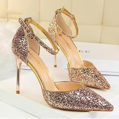 Elegant Sequins Pointed Toe Sandals Shoes