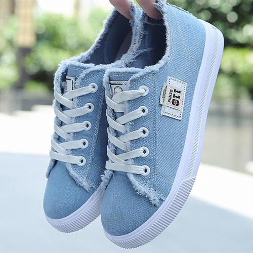 New Spring Ladies Canvas Lace Up Flat Vulcanized Women Fashion Sewing Breathable White Shoes Female Platform Casual Footwear