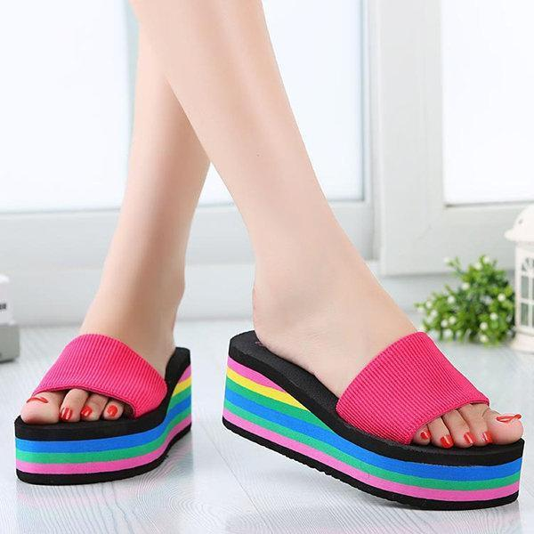 Colorful Women Beach Wedges Slippers Shoes