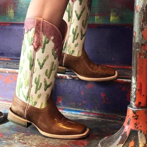 Women Square Toe Cactus Printed Casual Printed Chunky Heel Pu Mid-Calf Boots