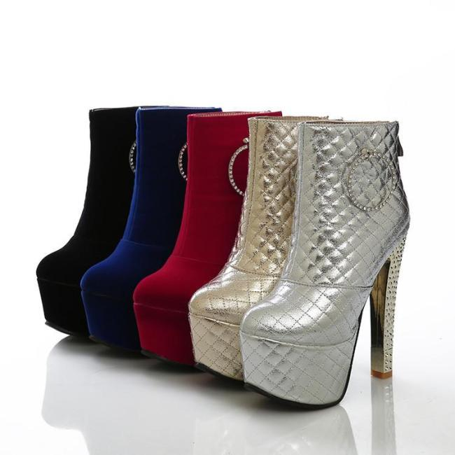 Women's Rhinestone Ankle Boots Platform Sparkly Heels Shoes Autumn and Winter 5467