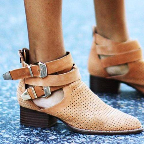 Plus Size Suede Hollow Out Chunky Heel Buckle Ankle Booties