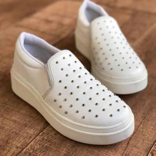 Woman Platform Rivet All Season Slip-on Loafers Sneakers