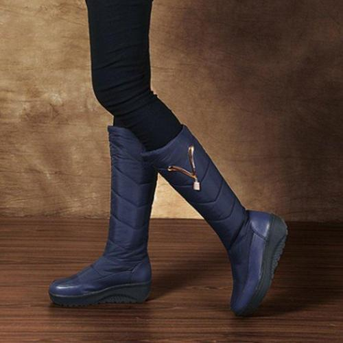 Pu Platform Mid-Calf Winter Boots Slip On Round Toe Snow Boots