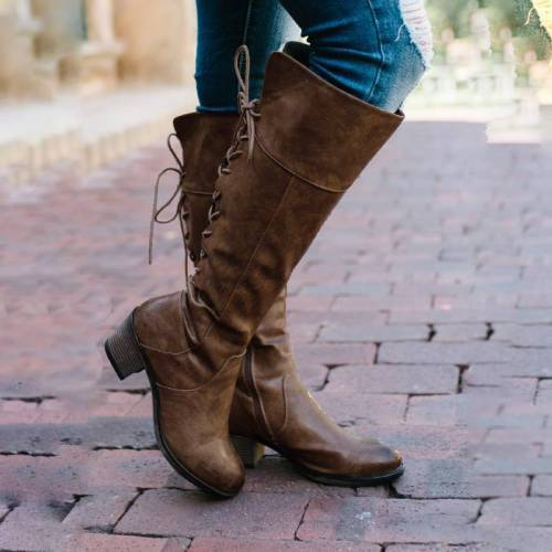 Back Lace-Up Mid Heel Mid-Calf Retro Boots