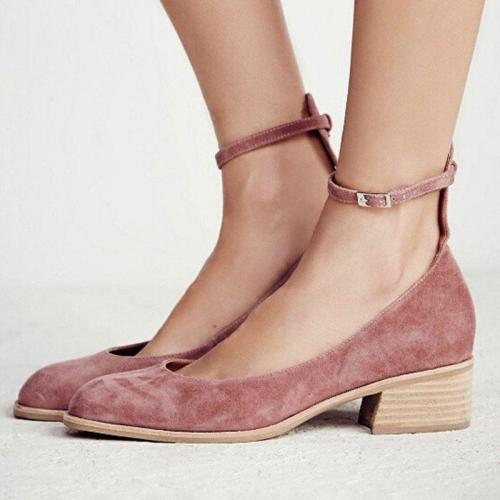 Women Flocking Pumps Sandals Casual Comfort Adjustable Buckle Shoes