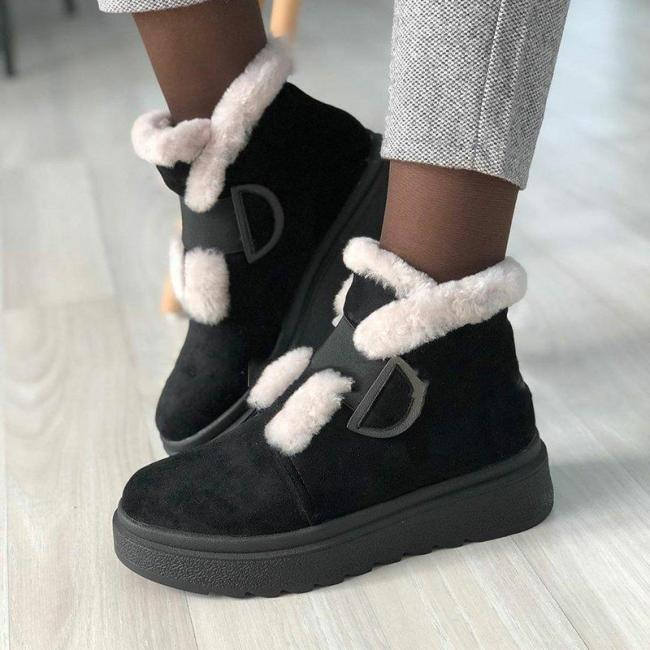 Women Round Toe Snow Boots Artificial Suede Casual Winter Flat Heel Shoes