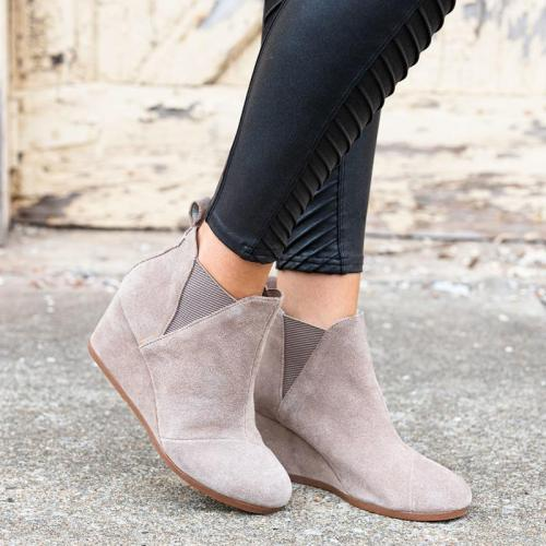 Plus Size Suede Wedge Heel Slip On Ankle Boots
