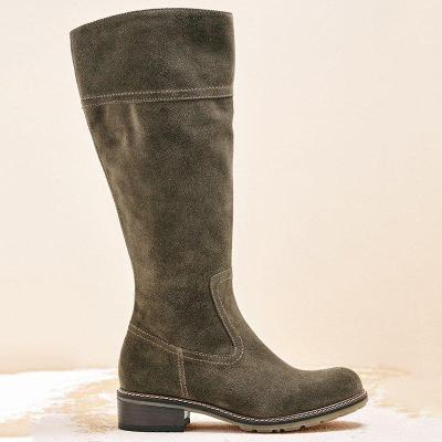 Women Winter Suede  Zipper Knee-High Boots