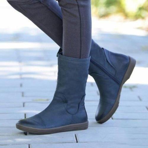 Pu Leather Mid-high Boots Casual Flat Zipper Boots