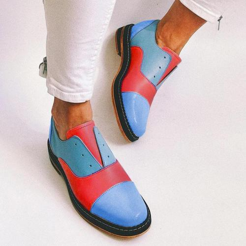 Woman Lace-Up Split Joint Round Toe Low Heel Loafers Single Shoes