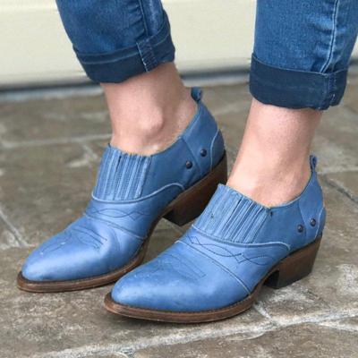 Women Vintage Fall Slip On Chunky Heel Booties