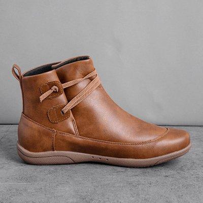 Braided Strap Flat Heel All Season Boots