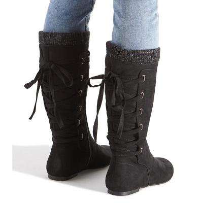 Women Winter Lace-Up Sweater Knit Knee-High Boots