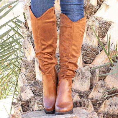 Women Round Toe Artificial Suede Zipper Knee Boots