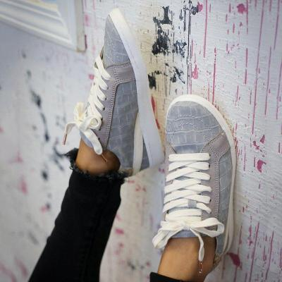 Daily Lace-Up Flat Heel Sneakers All Season Shoes
