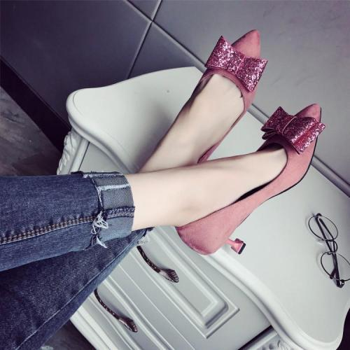 Fashion Suede Slim Heel Shoes With Bow-Knot