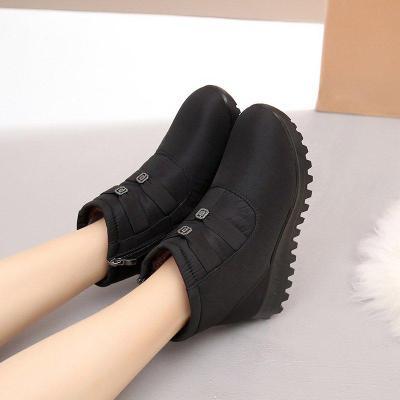 Women Solid Fur Lined Flat Heel Winter Zipper SnowBoots