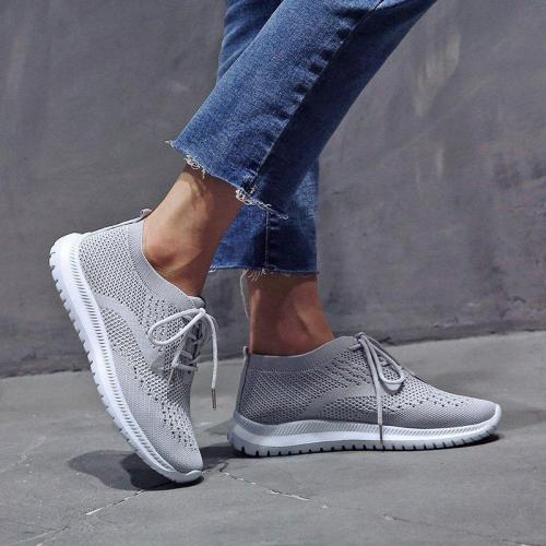 Mesh Flat Heel Sneakers Breathable Slip On Running Sneakers