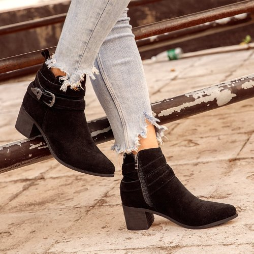 Women's vintage Pu Buckle Fall Block Heel Boots
