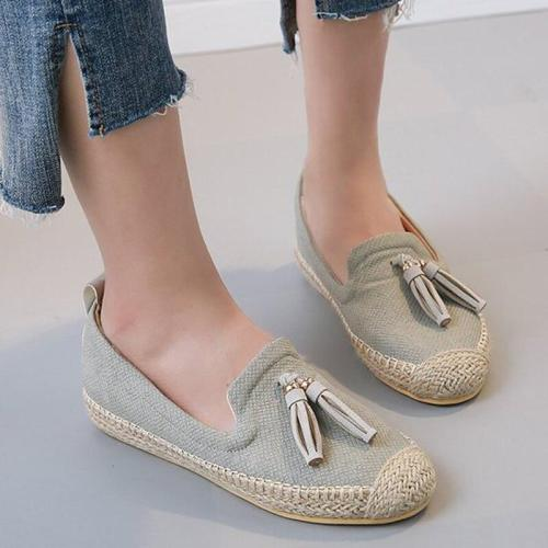 Loafers women Summer Sewing Massage Boat Shoes For Girl Casual Microfiber Round Toe Fringe Flat Shoes 2019 New