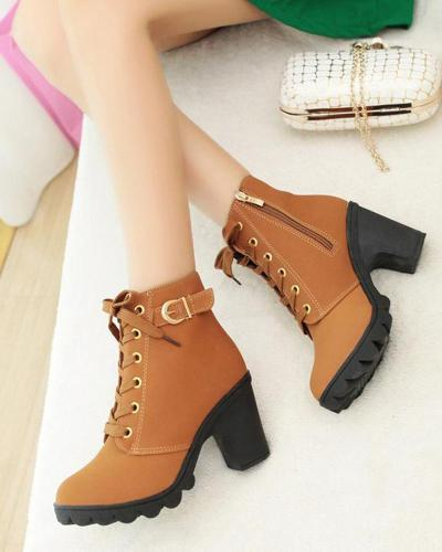 High Top Chunky Heel Ankle Boots