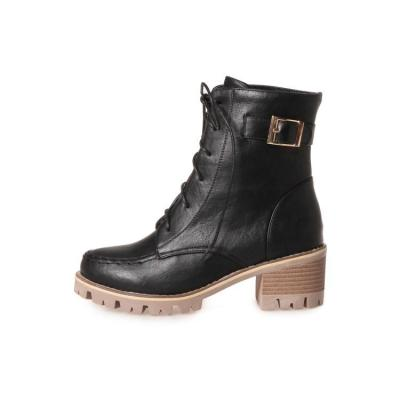 Women's Lace Up Ankle Motorcycle Boots Chunky Heels Shoes Autumn and Winter 9240