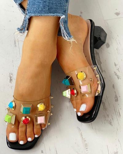 Rivet Transparent Chunky Heeled Sandals
