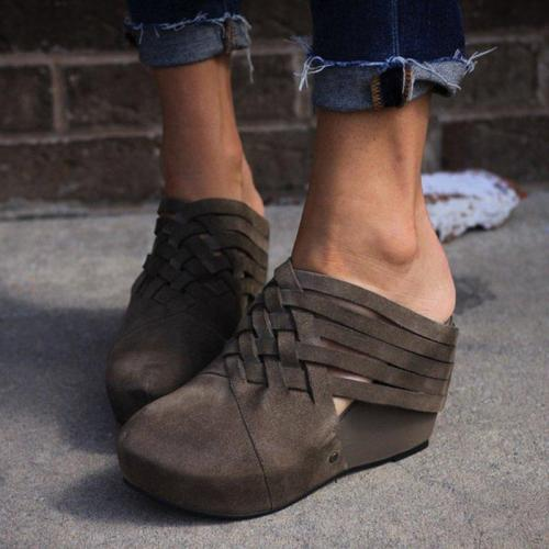 Vintage Women Wedge Heel Shoes Slip-On Wedges Plus Sizes