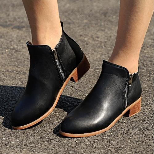 Womens New Leather Suede Booties Chunky Heel Ankle Vintage Boots