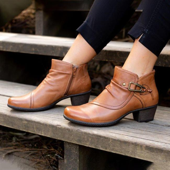 Autumn Fashion Side Zipper Chunky Heel Ankle Boots